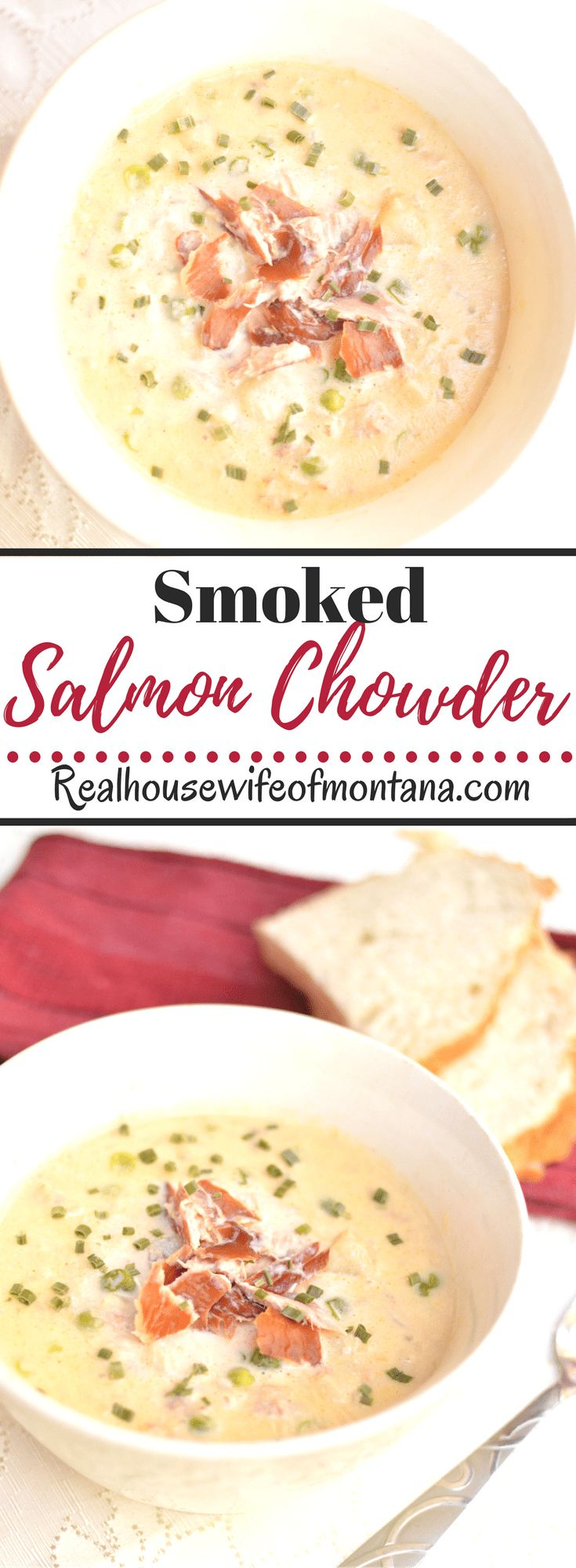 Smoked Salmon Chowder – A homemade, hearty, creamy and satisfying chowder with savory bits of smoked salmon, vegetables and packed with flavor. An easy dinner recipe when the family is craving a soup and chowder night! | realhousewifeofmontana.com