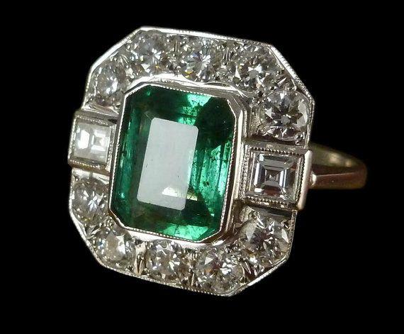 Diamond & Emerald antique bague or 18 carats 380 par LaurelleLtd