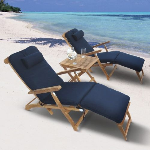 Royal Teak Steamer Chaise Lounge Set - Outdoor Chaise Lounges at Hayneedle