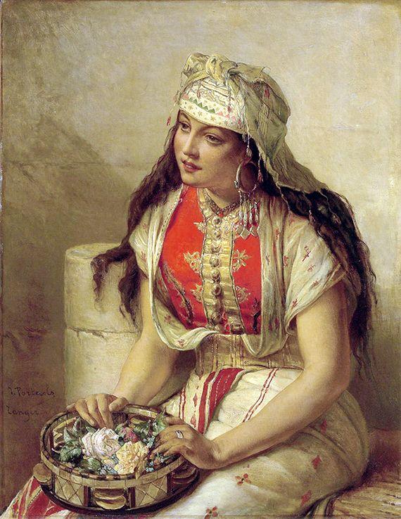 Jean-François Portaels (Belgian, 1818-1895). Jeune marocaine aux roses