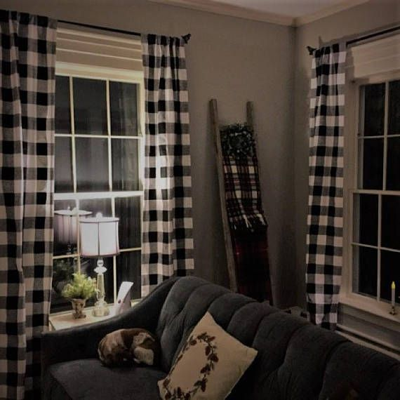Black And White Buffalo Check Curtains Rod Pocket Optional Etsy