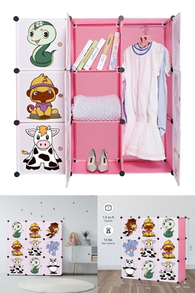 ICYMI Portable Girls Bedroom Storage Closet Toy Organizer Kids Wardrobe Dresser Pink
