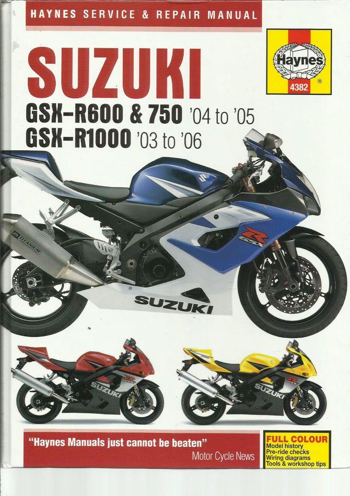 Haynes Suzuki GSX-R600 & 750 GSX-R1000 Service and Repair Manual K4 on