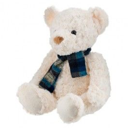 Our cute fluffy bears are available in brown or white, complete with their own tartan scarf! Size of bear is 42cm(H)(28cm when seated) x 18cm(W) x 12cm(D) approx.  #PoundlandValentine