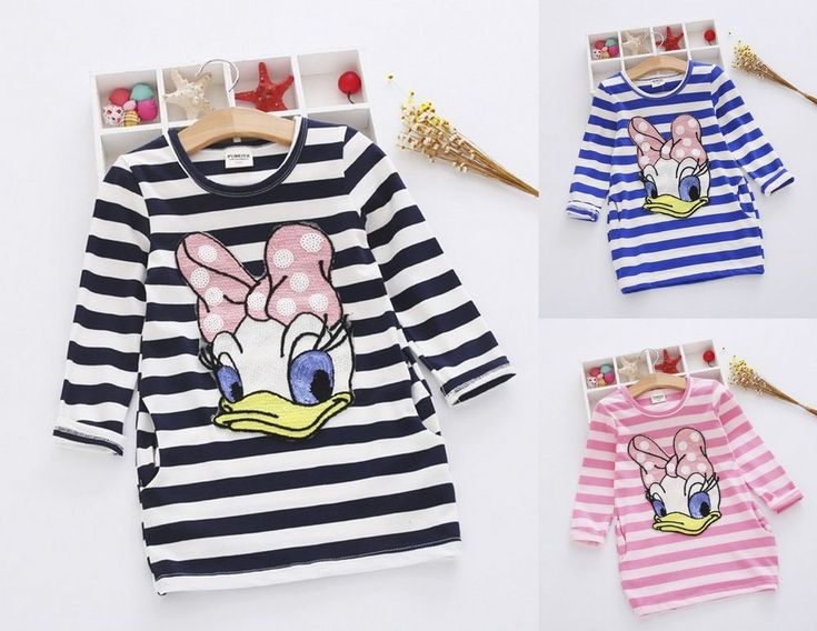 Girls Daisy Duck Stripe Sequin Dress Long Sleeve Fall Pink Blue Black 2T-7   Clothing, Shoes & Accessories, Kids' Clothing, Shoes & Accs, Girls' Clothing (Sizes 4 & Up)   eBay!