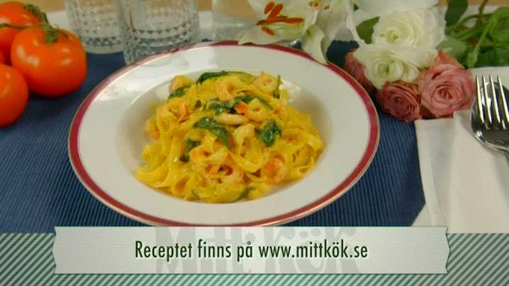 Pasta med räkor och saffran - Recept - Mitt Kök