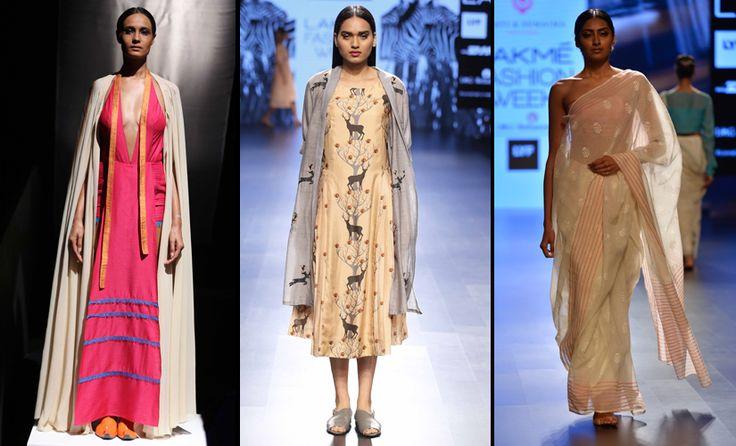 From (L-R) designs by Wendell Rodricks, Sneha Arora, and Swati & Sunaina