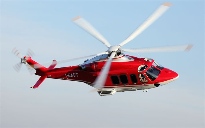 Download wallpapers AgustaWestland AW139, red helicopter, civil aviation, passenger helicopters, AW139, AgustaWestland