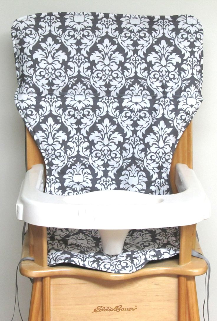 Eddie Bauer replacement wooden high chair pad, high chair cover, damask, gray and white by SewingsillySister on Etsy