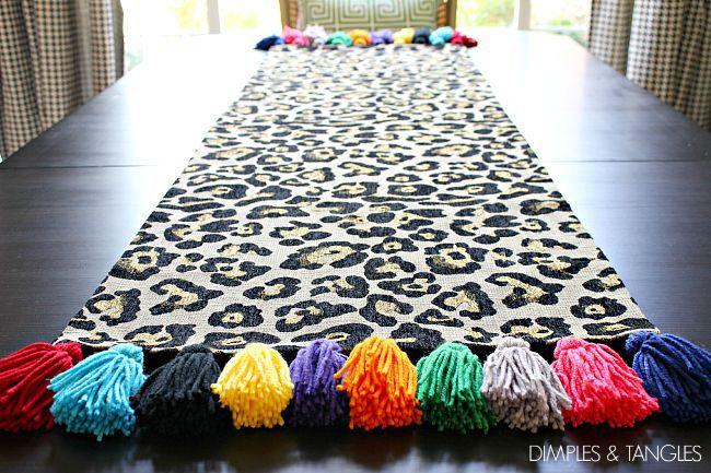 Dimples and Tangles: DIY TASSEL LEOPARD TABLE RUNNER