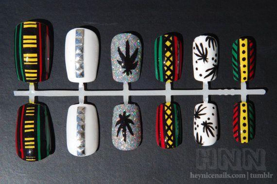 Rasta Nails - Hand Painted Artificial Nail Set