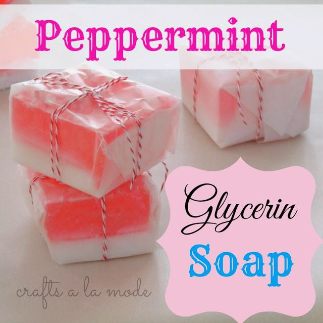 Homemade pink peppermint glycerin soap