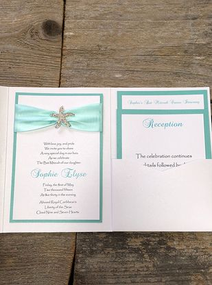 Elegant Seaside Pocket Invitation with Starfish Rhinestone from with luv design