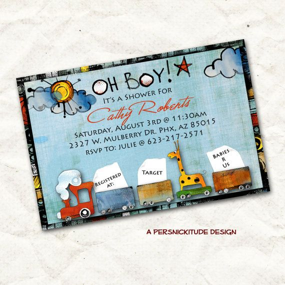 oh boy train baby shower invitation print by persnickitude on Etsy, $12.00