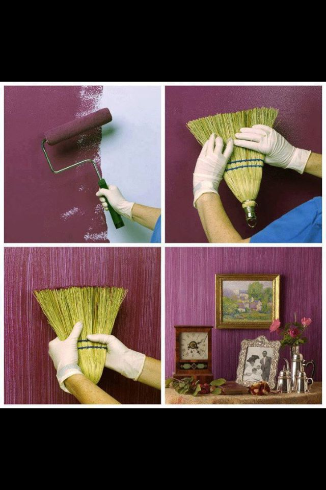 broom wall paint technique
