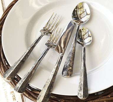 Ridge Flatware with distressed patina. Was a wish item but received as Christmas gift and I love, love it!