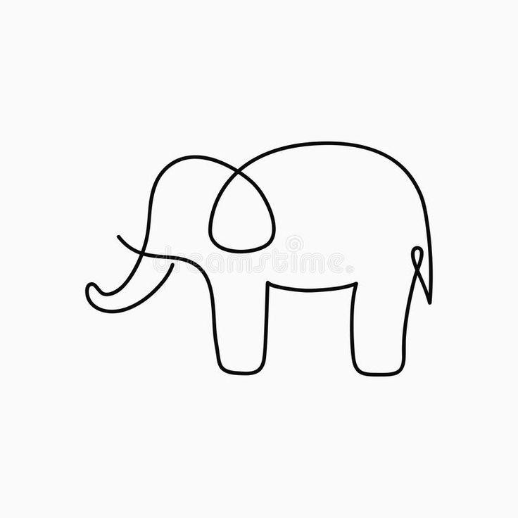 Federzeichnung Des Elefanten Einer Ununterbrochene Linie Tier Von …