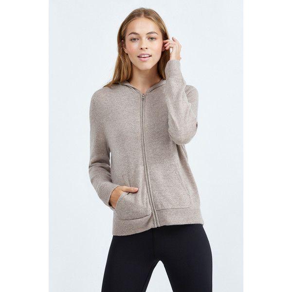 Monrow Cashmere Zip Up Hoody ($370) ❤ liked on Polyvore featuring tops, hoodies, camel, zip hoodies, zipper hoodie, long sleeve hoodie, hooded zipper sweatshirts and zip up hoodies