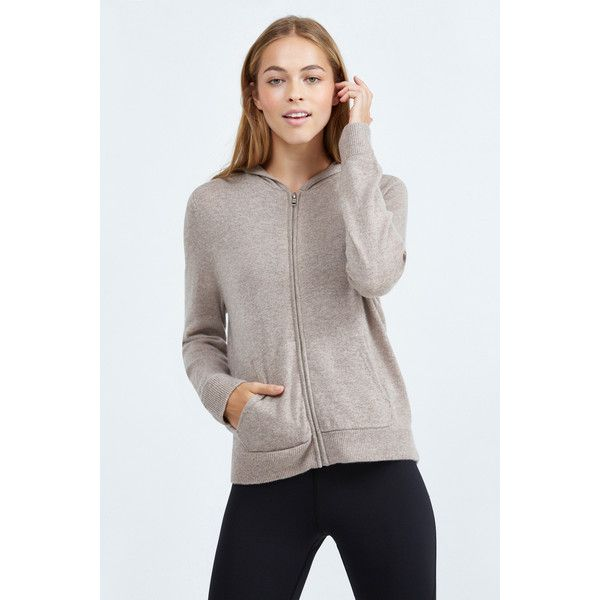 Monrow Cashmere Zip Up Hoody ($370) ❤ liked on Polyvore featuring tops, hoodies, camel, zip hoodies, zipper hoodie, long sleeve hoodie, hooded zipper sweatshirts and zip up hoodies