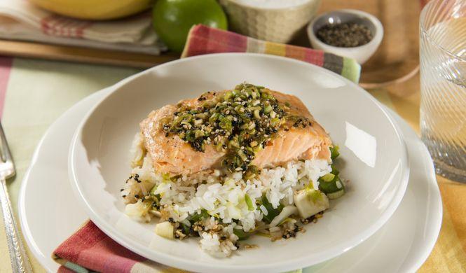 Filets de saumon aigre-doux et salade de riz - Dany St-Pierre