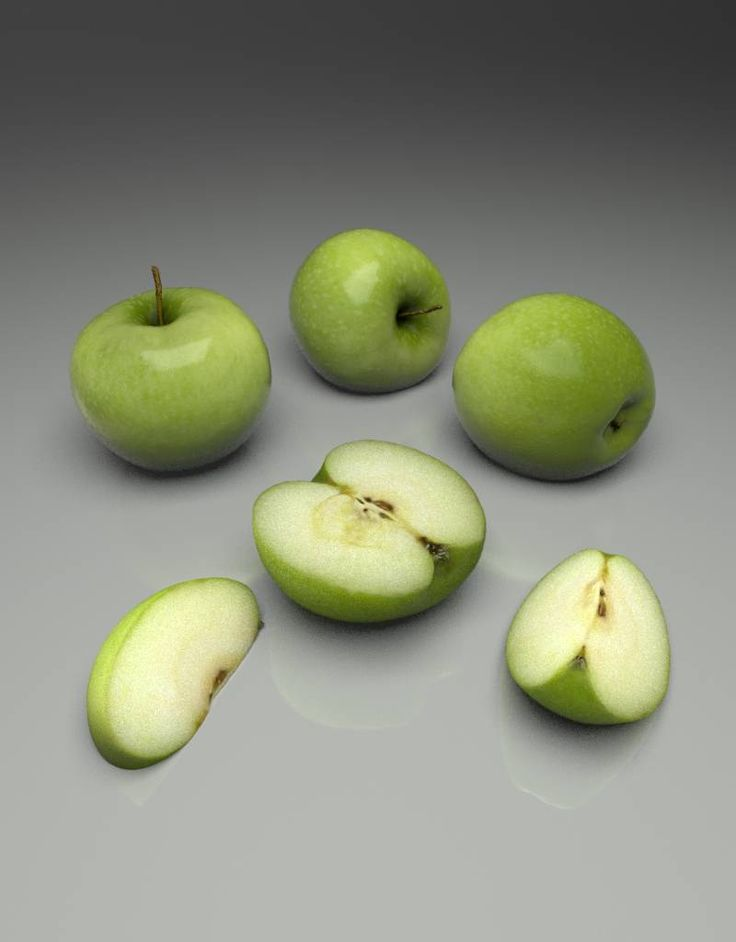 Photorealistic 3D model of a Granny Smith apple
