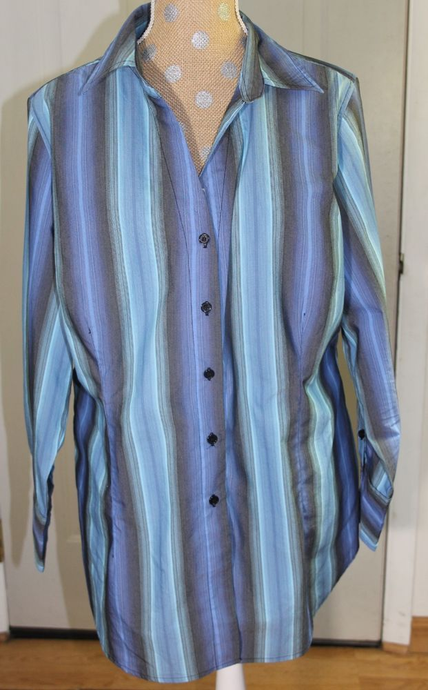 253a9a6b2fcdc0 DENIM 24 7 Blue Striped Button Down Blouse Top Long Sleeve Stretch PLUS Sz  20W  fashion  clothing  shoes  accessories  womensclothing  tops (ebay link)