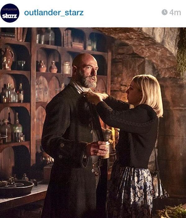 New instagram photo from Outlander Starz of Graham McTavish and costume person. Outlander set.