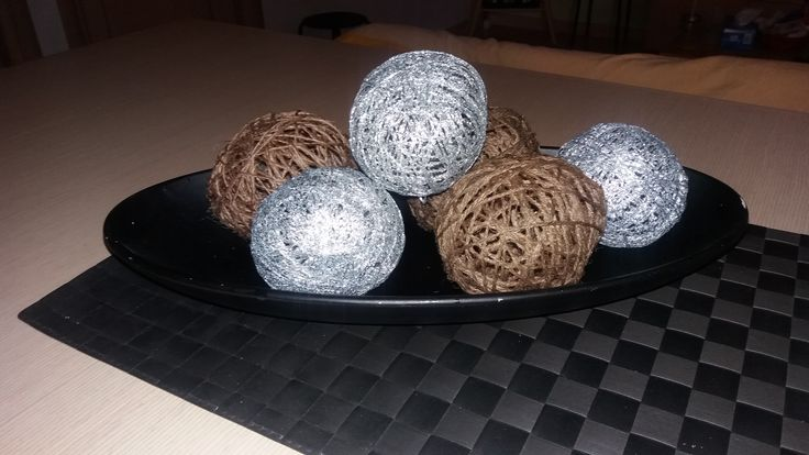 DIY home decor. Silver and brown balls with strink.