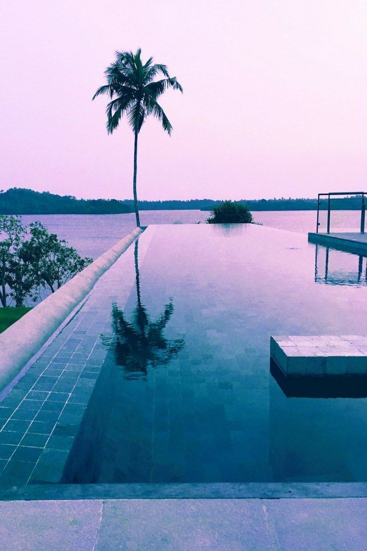 Pool goals at luxury hotel, Tri in Sri Lanka. This design hotel has a breathtaking infinity pool overlooking Koggala Lake. It's the perfect honeymoon destination or luxury break. Click to read our full review