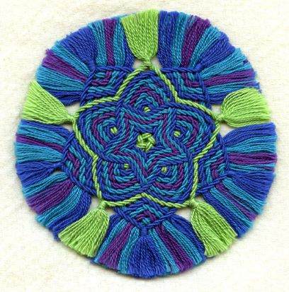 Ply-split mat by Linda Hendrickson. Cords made from 10/2 perle cotton.