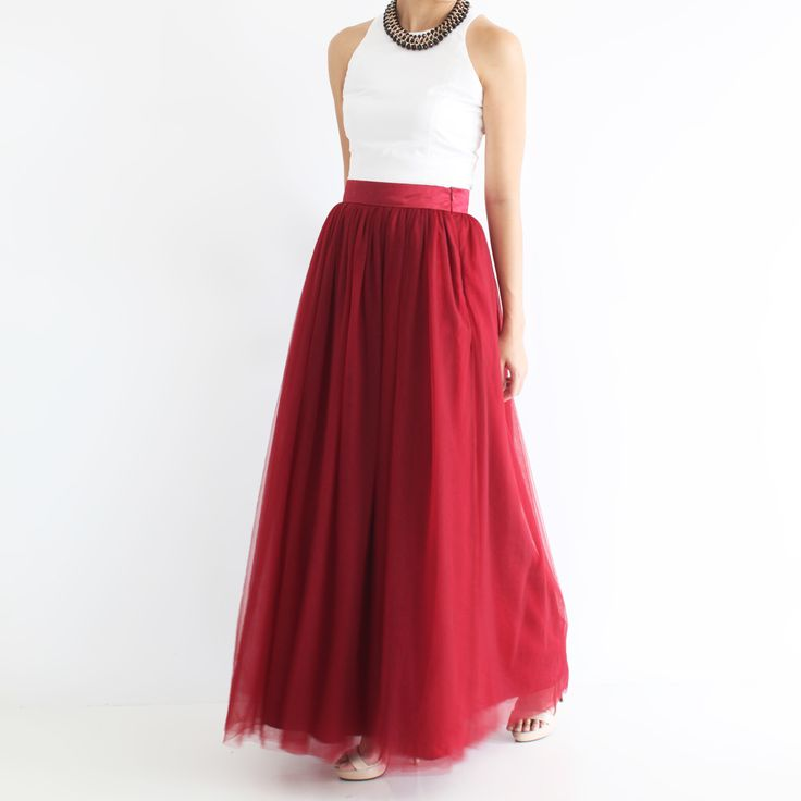 Maxi tulle skirt Maroon | Tulle bridesmaid maxi skirt | Tuesday Couture | Tuesday C.
