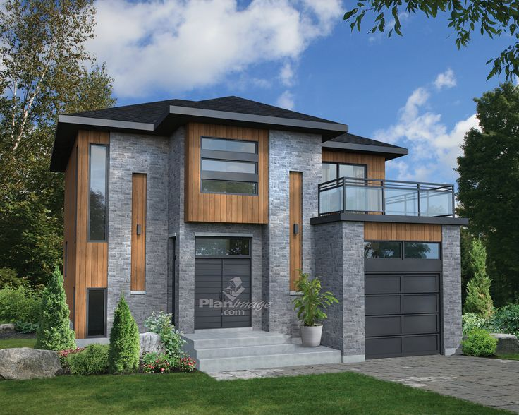 De style urbain, cette magnifique maison à étage à l'architecture originale se démarque avec son revêtement de briques et de bois et sa terrasse vitrée située au-dessus du garage.