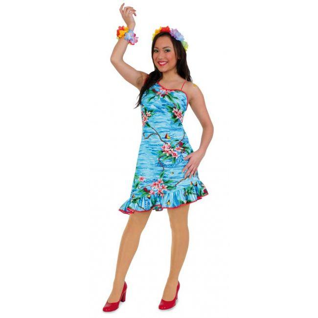 Blauw hawaii jurkje voor dames. Blauw hawaii jurkje met bloemen print, afgezet met een rode rand. Carnavalskleding 2015 #carnaval