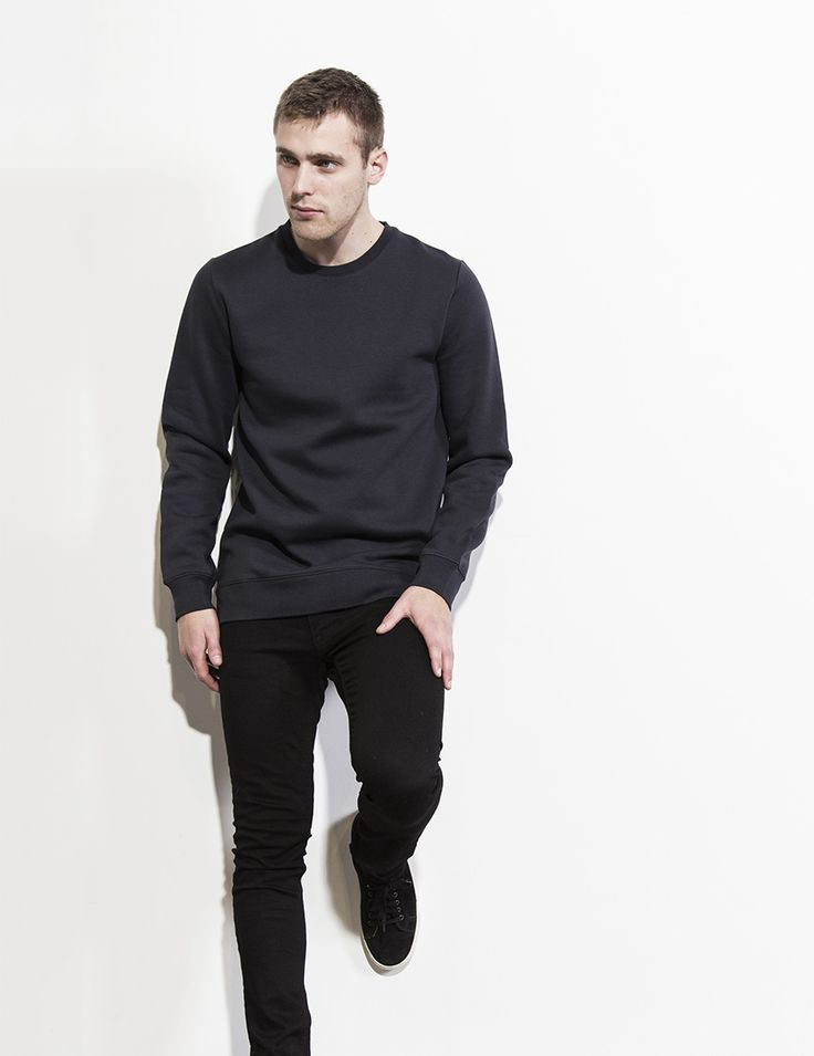 RVLT - men's fashion. A poly/cotton crew sweat made from a smooth surface fabric.