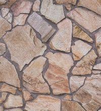Papel pintado imitación piedra caliza rústico marrón - 1141681