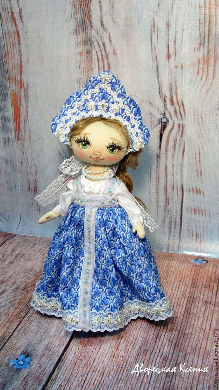 Купить Василиса-прекрасная - голубой, кокошник, купить авторскую работу, купить куклу из ткани