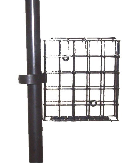 "SUET2  Pole Mount Suet Basket. Comes with a clip to attach it to any 1"" diameter pole and with screws to mount it on any wood birdfeeder, post, tree or flat surface. Holds 1 standard suet cake. 5"" X 5"" X 1-1/2"". Black."