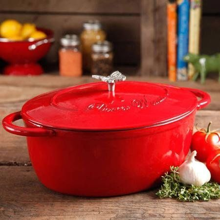 Update your kitchenware collection with the Pioneer Woman Timeless Beauty 7-Quart Dutch Oven. It turns any dish into a stunning presentation. This decorative piece is made of heavy-duty cast iron for long-term use. It includes a black Bakelite maintain and signature butterfly knob for simple lifting and serving. This oven Protected Dutch oven is to