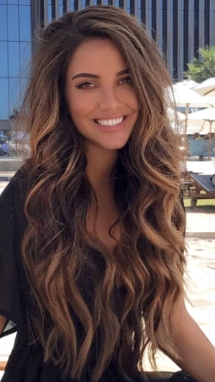 Gorgeous Long Brunette To Balayage Tousled Hair Feminine Hairstyles Wellbeing Radiant Healthy Beautifulhair Lo Hair Styles Hair Waves Long Hair Styles