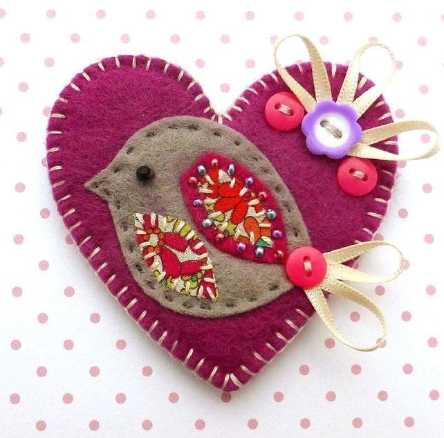 Love Heart Bird Brooch £8.50