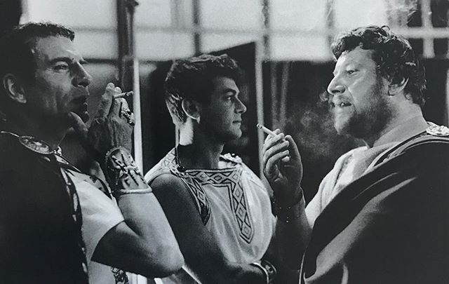 I'd take up smoking to be on this cigarette break. Laurence Olivier, Tony Curtis and Peter Ustinov on the set of Spartacus, 1960. Photo Richard C. Miller.