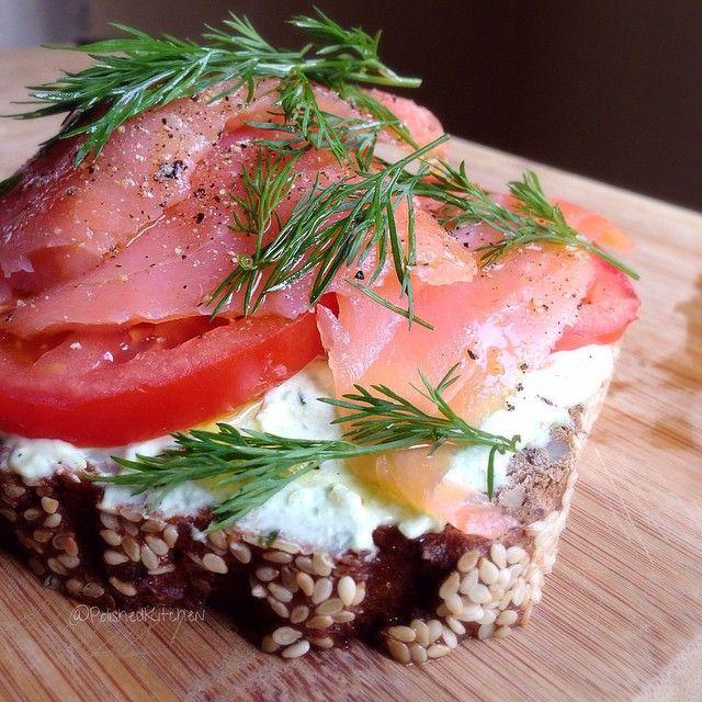 Salmon, Greek Yogurt, Tomato And Dill Smørrebrød