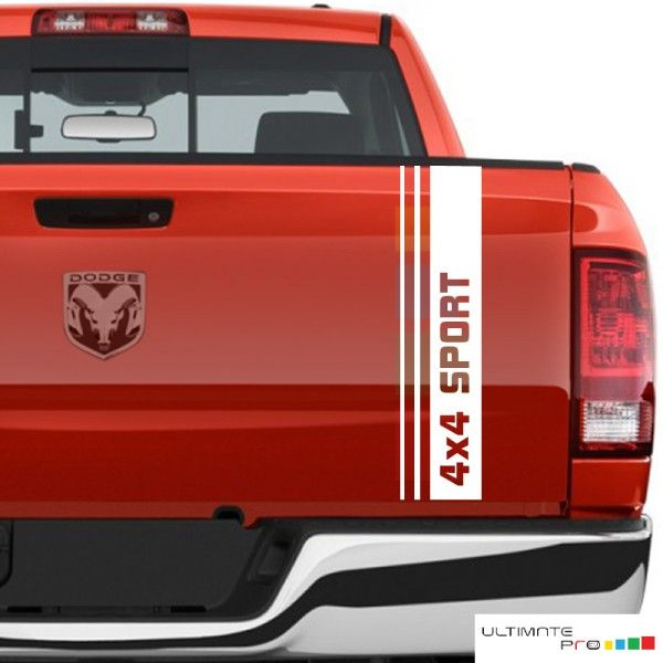 Rear 4x4 sport tailgate decal sticker truck Bed Compatible with Dodge Ram, Ford f 150, Chevrolet Silverado, Toyota Tundra.