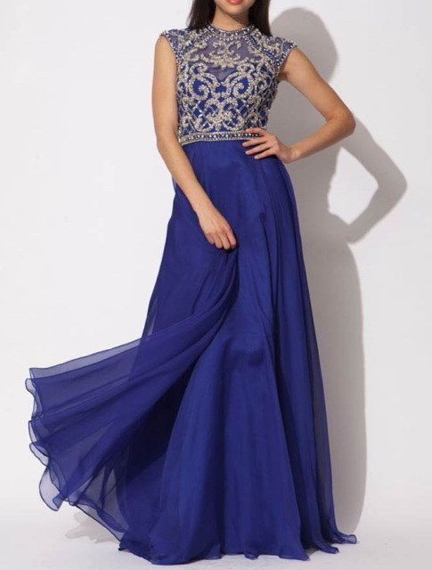 Show off your Ravenclaw colors with this elegantly-styled bodice gown. | 21 Magical Wedding Dresses Harry Potter Fans Will Adore