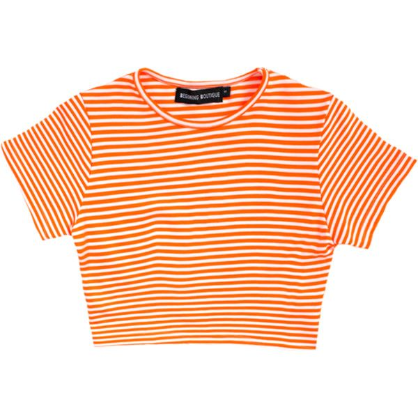 Cardinal Crop Orange | Beginning Boutique ($28) ❤ liked on Polyvore featuring tops, t-shirts, shirts, crop tops, crop tee, stripe t shirt, striped tee, orange t shirt and orange shirt