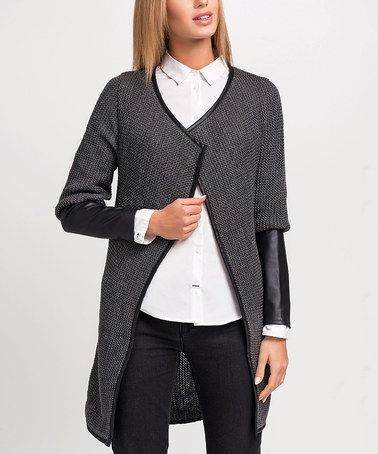 Another great find on #zulily! Graphite Contrast-Cuff Open Cardigan #zulilyfinds