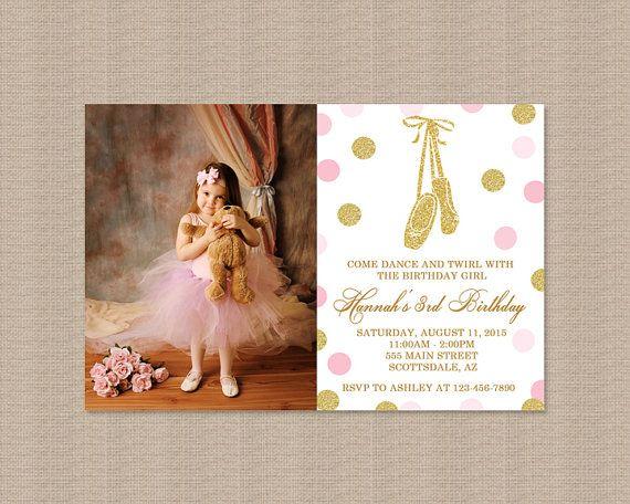 Pink and Gold Ballerina Birthday Party Invitation, Ballerina Birthday Party Invitation, Glitter Polka Dots, Photo, Printable Invitation