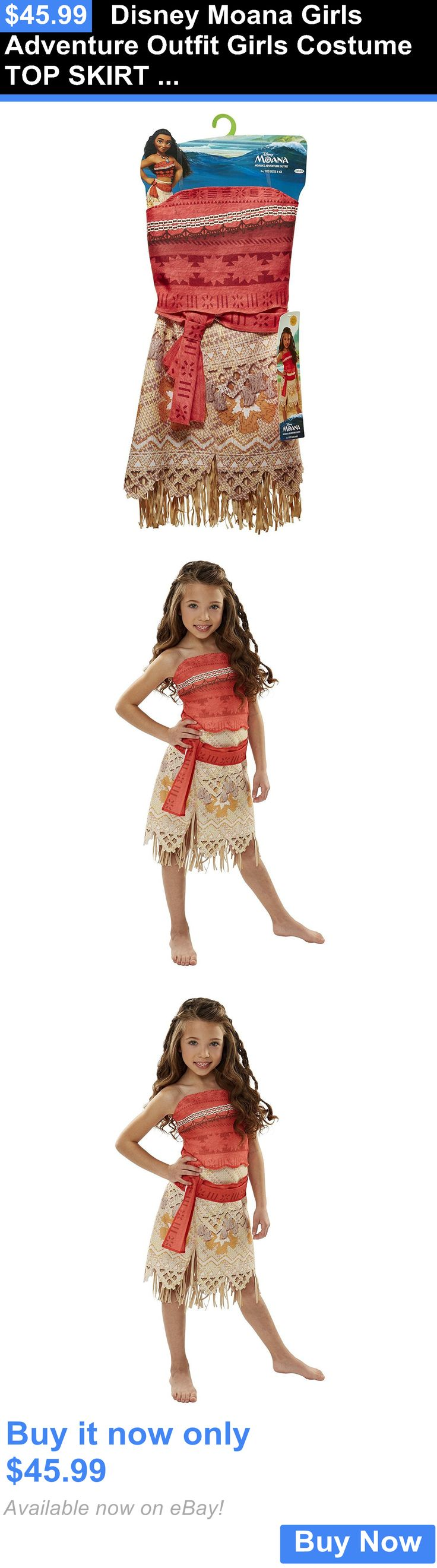 Halloween Costumes Kids: Disney Moana Girls Adventure Outfit Girls Costume Top Skirt 4-6X BUY IT NOW ONLY: $45.99