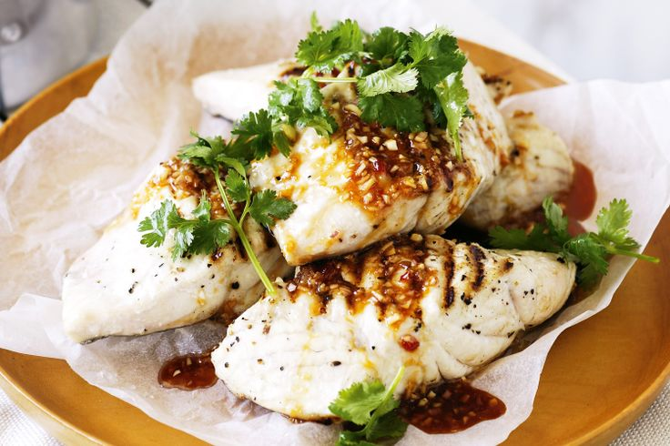 Barbecued fish with Thai dressing and coconut rice http://www.taste.com.au/recipes/25501/barbecued+fish+with+thai+dressing+and+coconut+rice