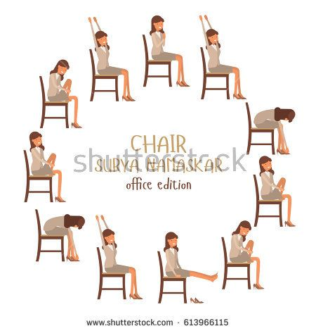 Round Vector Illustration Of Chair Sun Salutation Positions Woman In Suit Doing Yoga At Work Office Worker Doing Su Chair Yoga Chair Yoga Sequence Basic Yoga